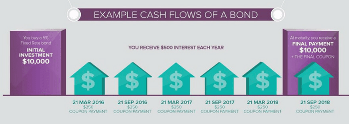 Example Cash Flows or Coupons of a bond